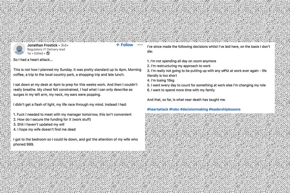 A screenshot of Jonathan Frostick's viral LinkedIn post about work-life balance