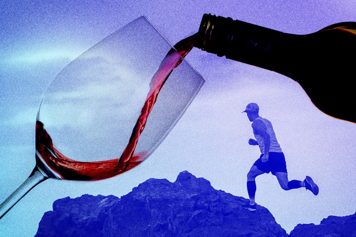 A composite picture of a runner and a glass of wine. An extreme fitness program does not mean you can't enjoy a glass of wine.