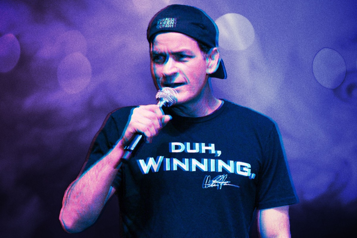 """Charlie Sheen in his """"Duh, winning"""" shirt during his ill-fated 2011 stage show/tour"""