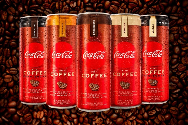 All five new cans of Coca-Cola With Coffee behind a coffee bean background