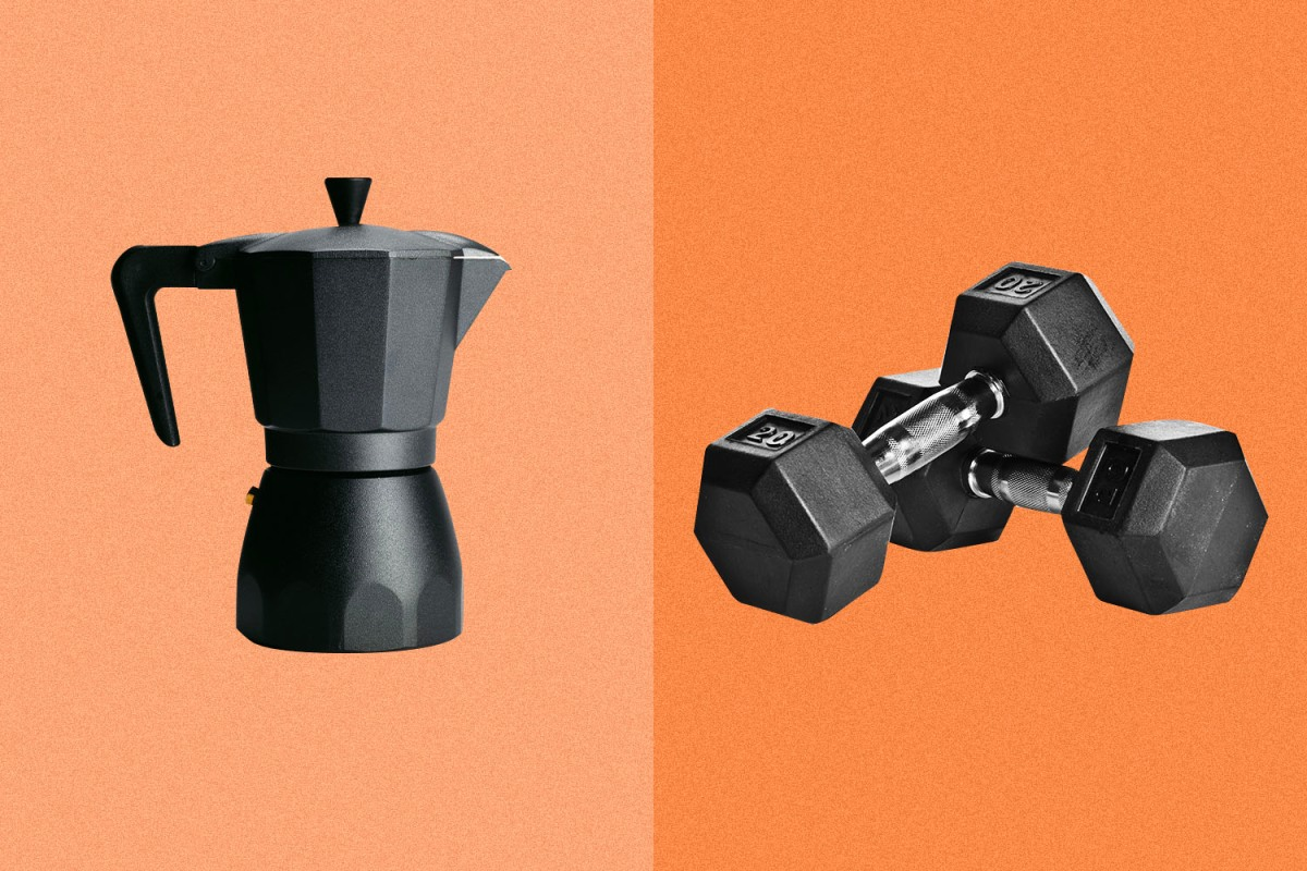 coffee pot and barbells