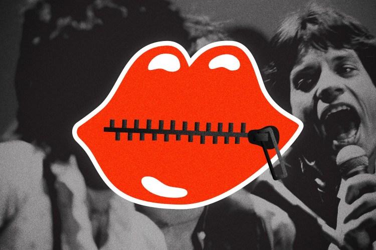A Rolling Stones logo with zipped shut lips