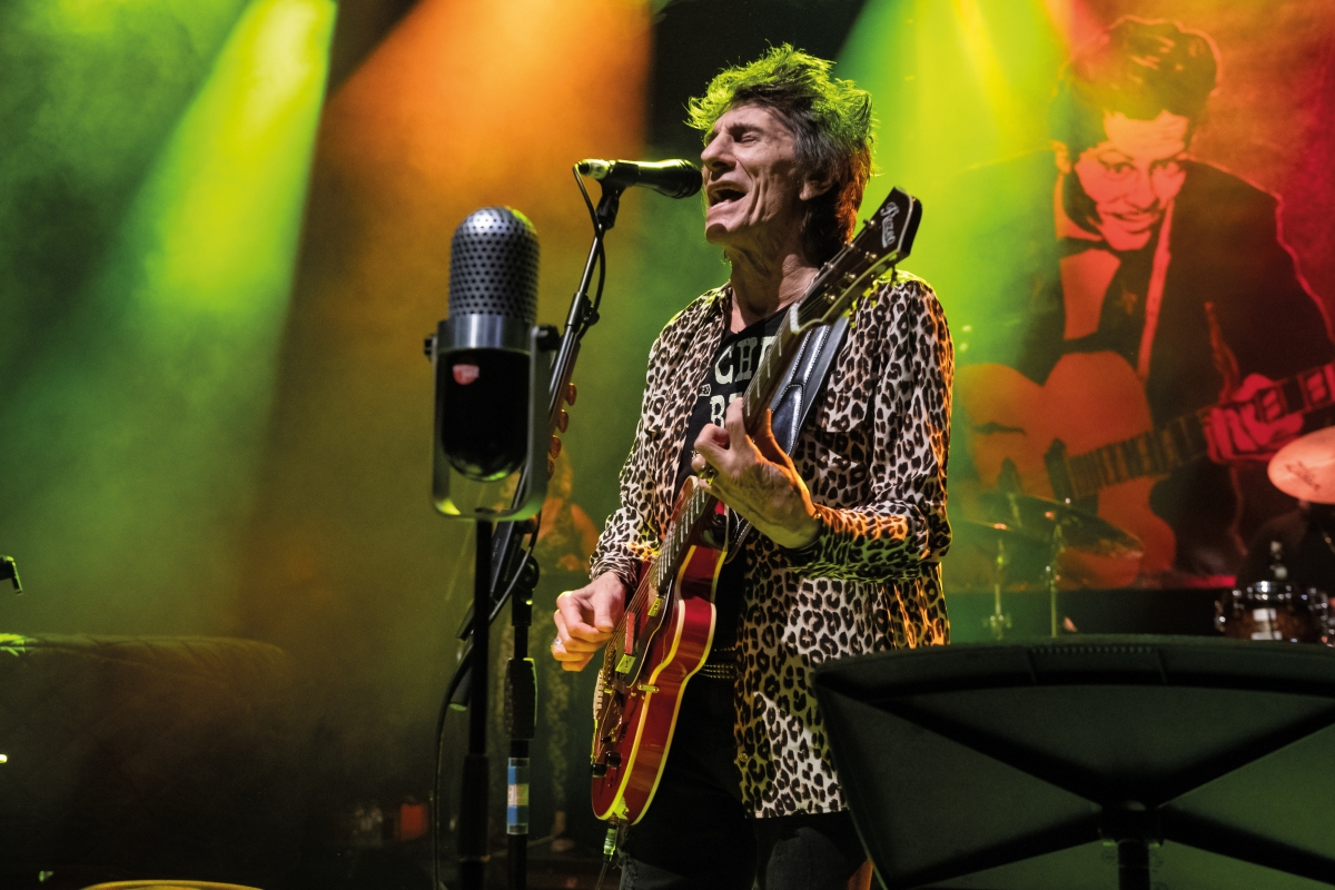 Vocalist and guitarist Ronnie Wood performing live on stage at the O2 Shepherds Bush Empire in London, on November 21, 2019.