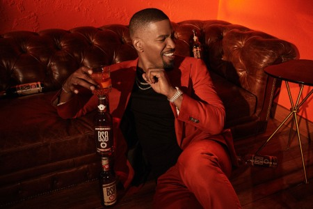 Jamie Foxx with a bottle of BSB-Brown Sugar Bourbon, the whiskey brand he just bought