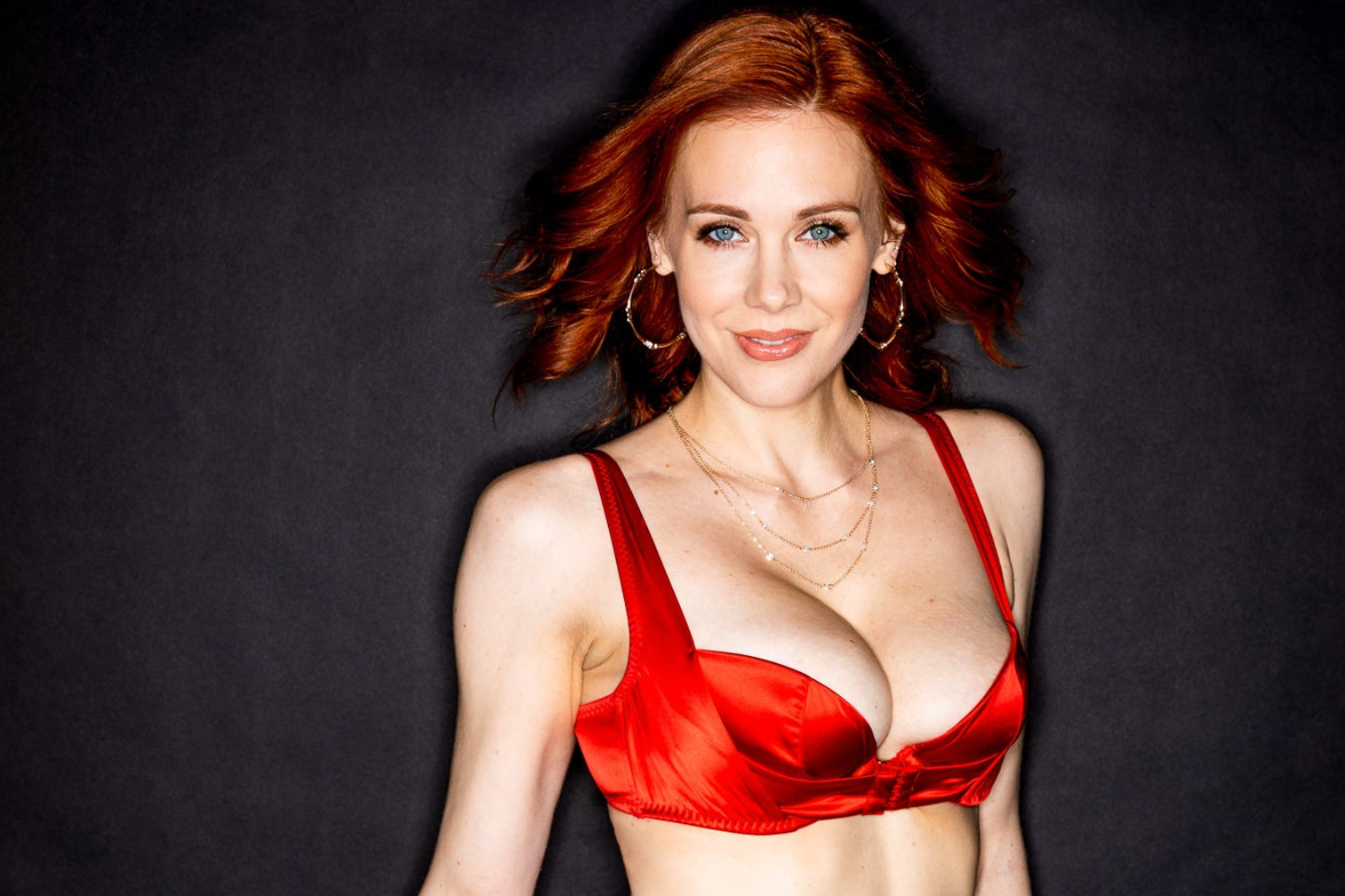 Photo of Maitland Ward in a red bra