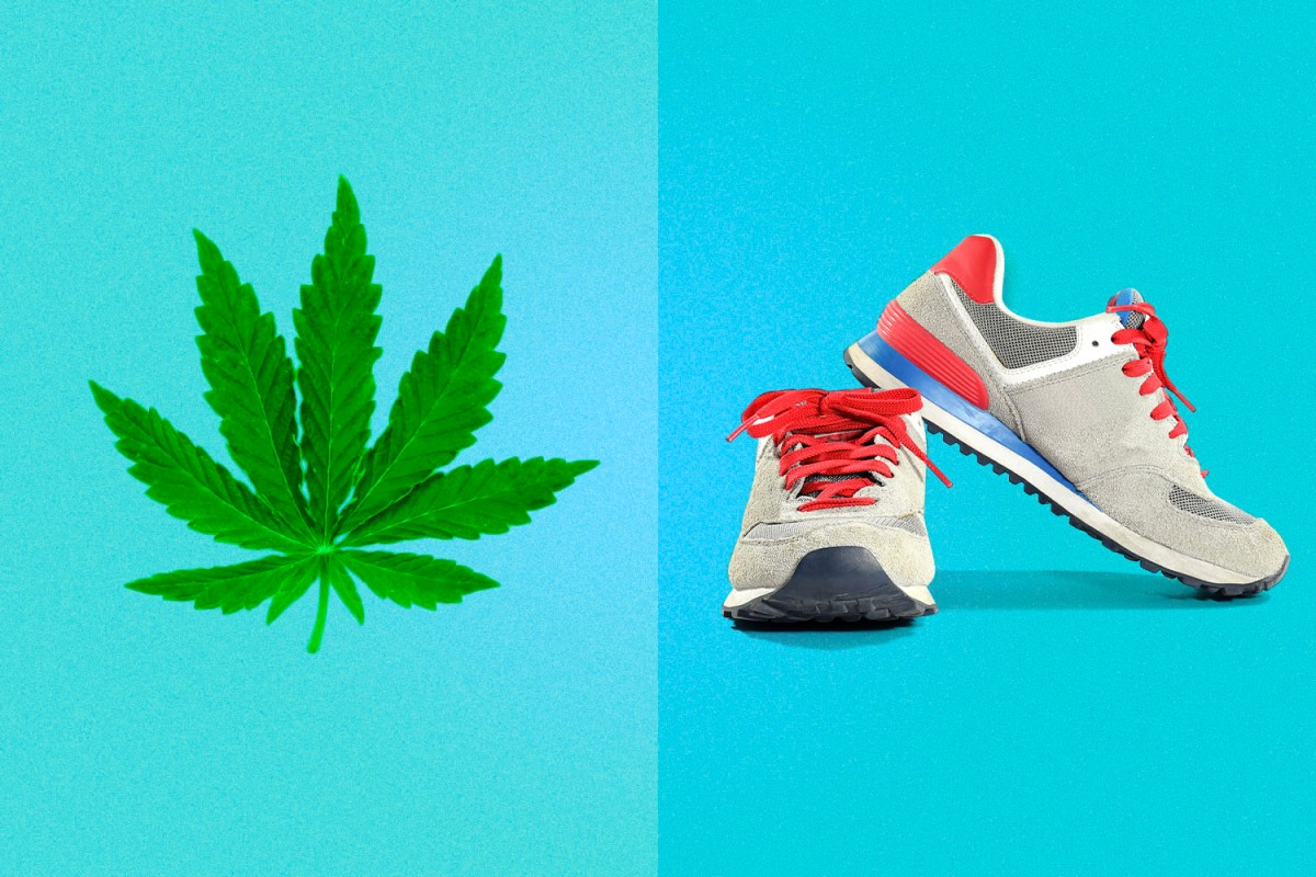 cannabis and running shoes