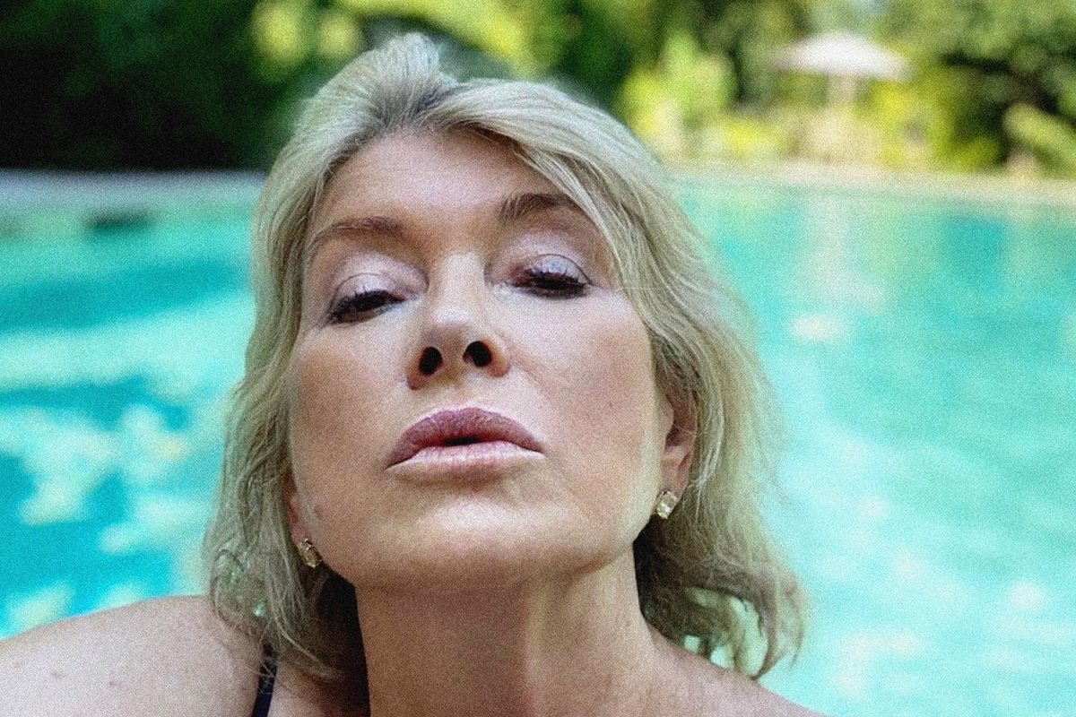 close-up photo of Martha Stewart's face, pool in the background