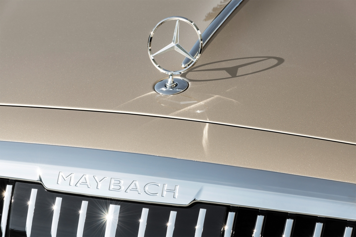 The Maybach name and Mercedes-Benz logo on the new Mercedes-Maybach S-Class