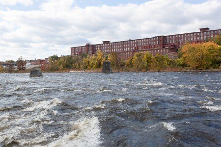 The rushing Merrimack River in Manchester, New Hampshire