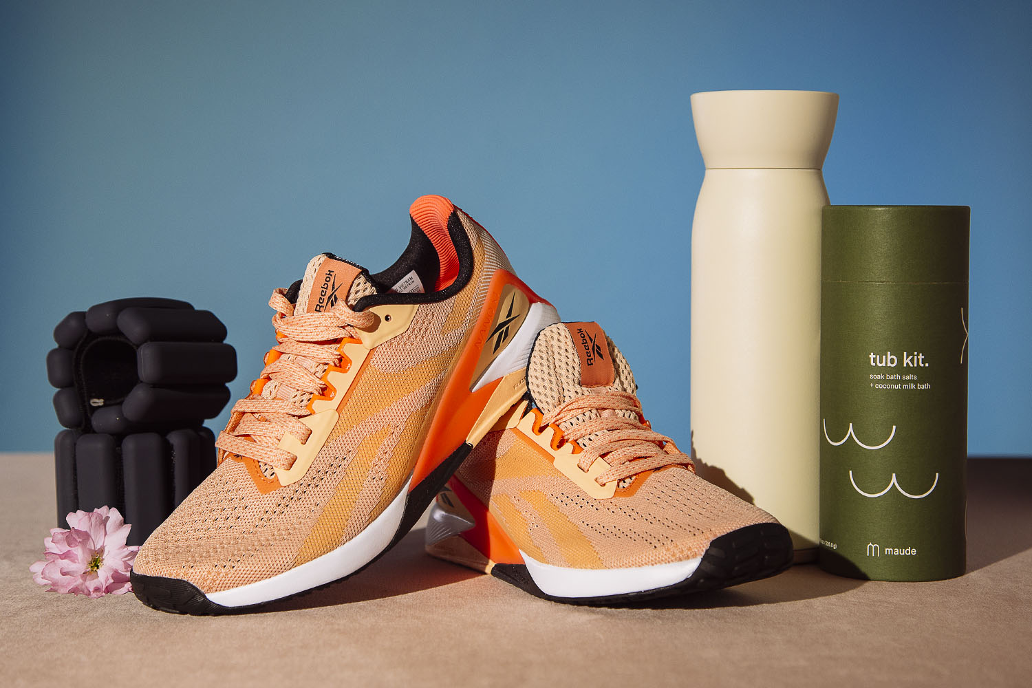 bracelet weights, running shoes, water bottles and bath salts