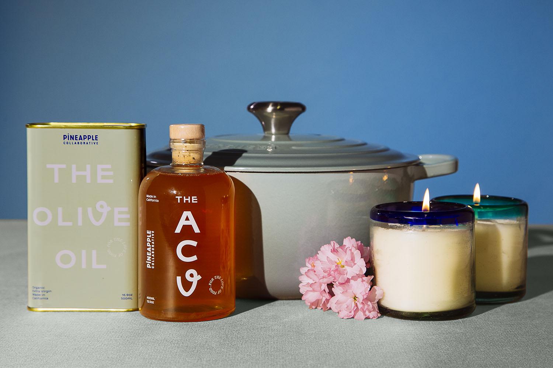 Olive oil, apple cider vinegar, a le cruset pot and candles