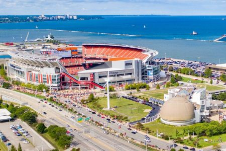 An aerial view of FirstEnergy Stadium along  Lake Erie near downtown Cleveland.