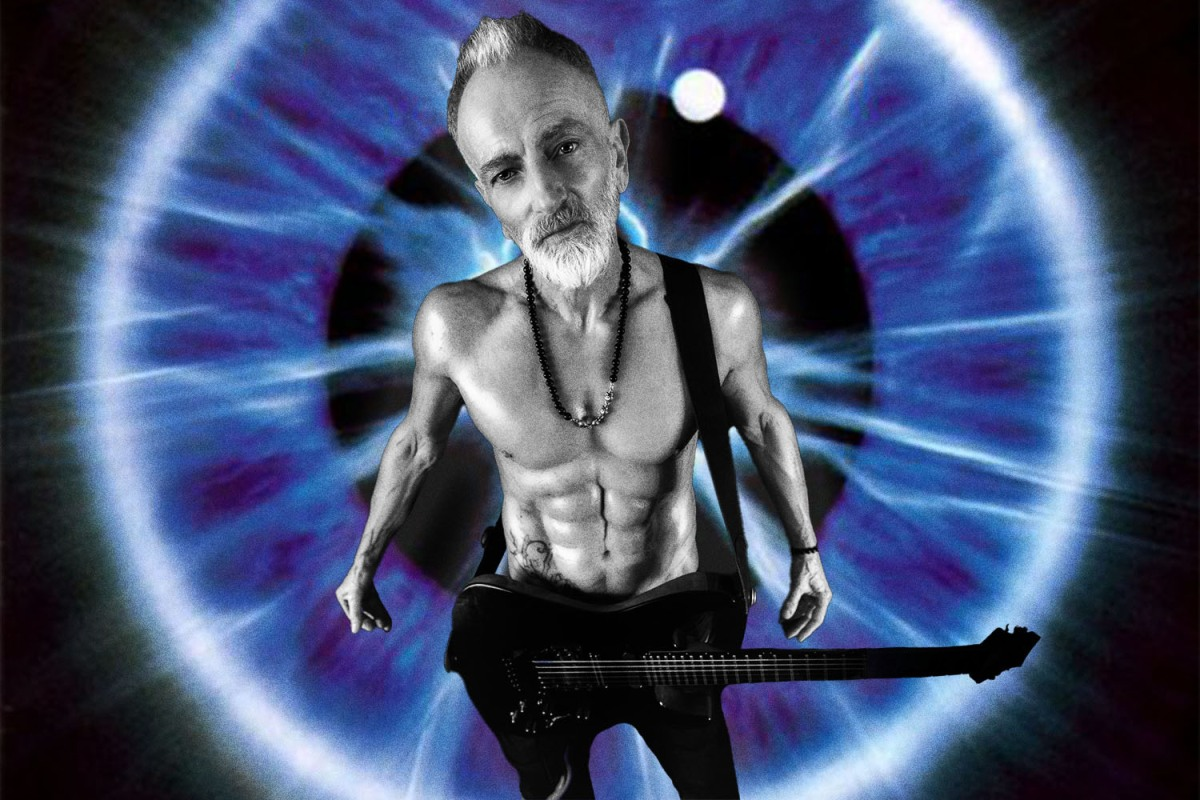 a mash-up pic of Def Leppard guitarist superimposed over the album cover of the band's 1992 album Adrenalize
