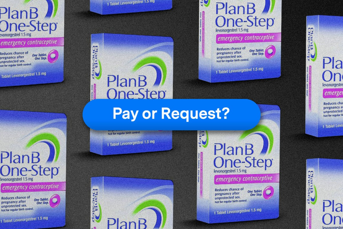 boxes of Plan B emergency contraception on grey background