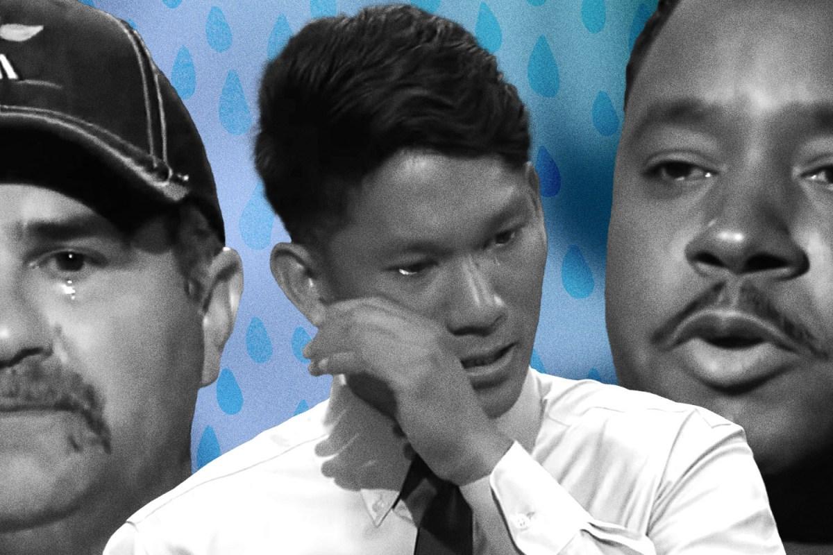 "men crying on ""Shark Tank"""