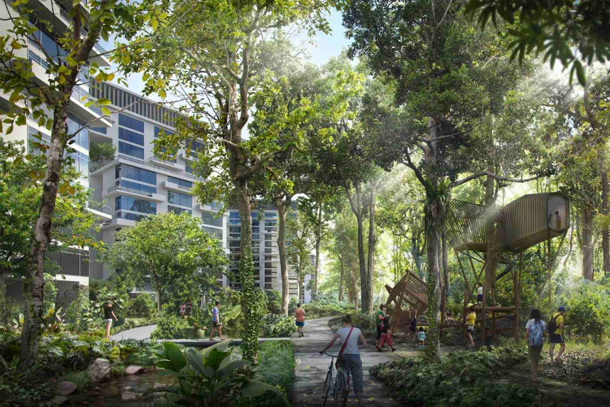 A rendering of the Forest Hill District in Singapore's proposed smart and sustainable city Tengah