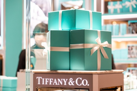 Tiffany Blue Boxes on a table at a Tiffany & Co. Store