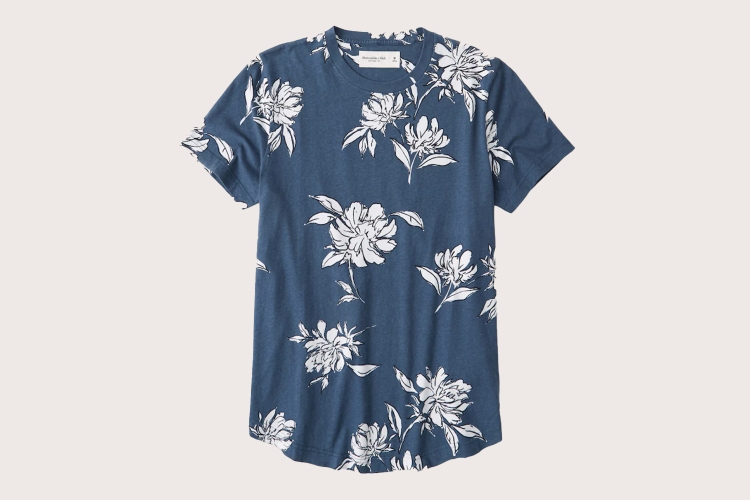 Abercrombie men's Curved Hem Tee in blue