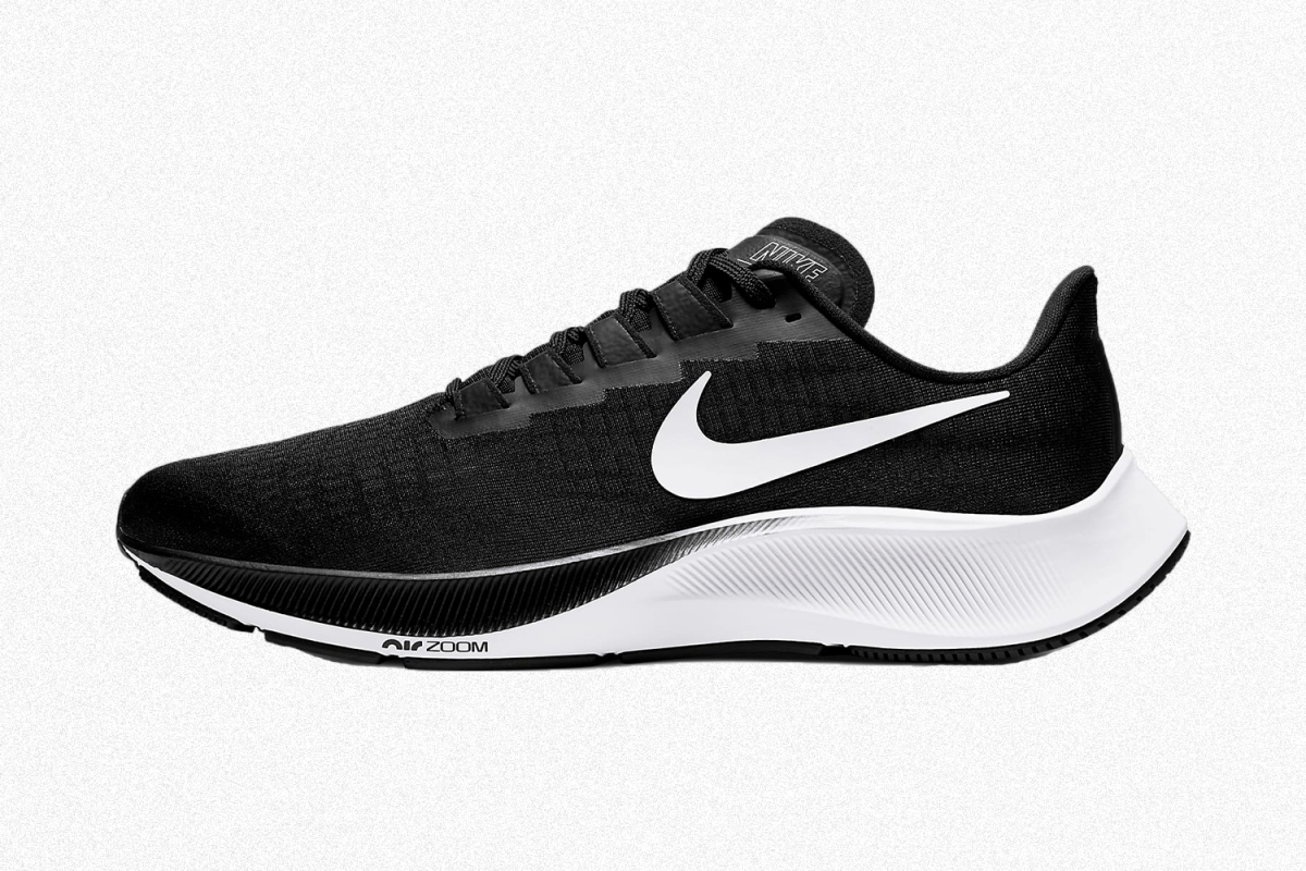 Nike Air Zoom Pegasus 37 running shoes in black and white