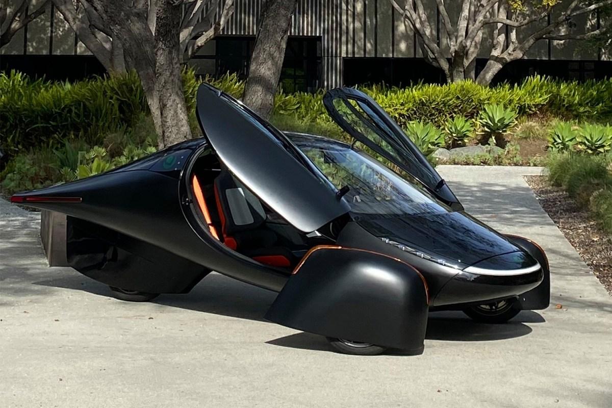The three-wheeled Aptera solar powered electric vehicle