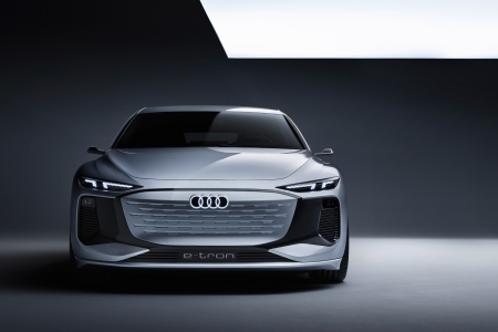 The Audi A6 E-Tron concept electric car with heat-reflecting Heliosilver pain
