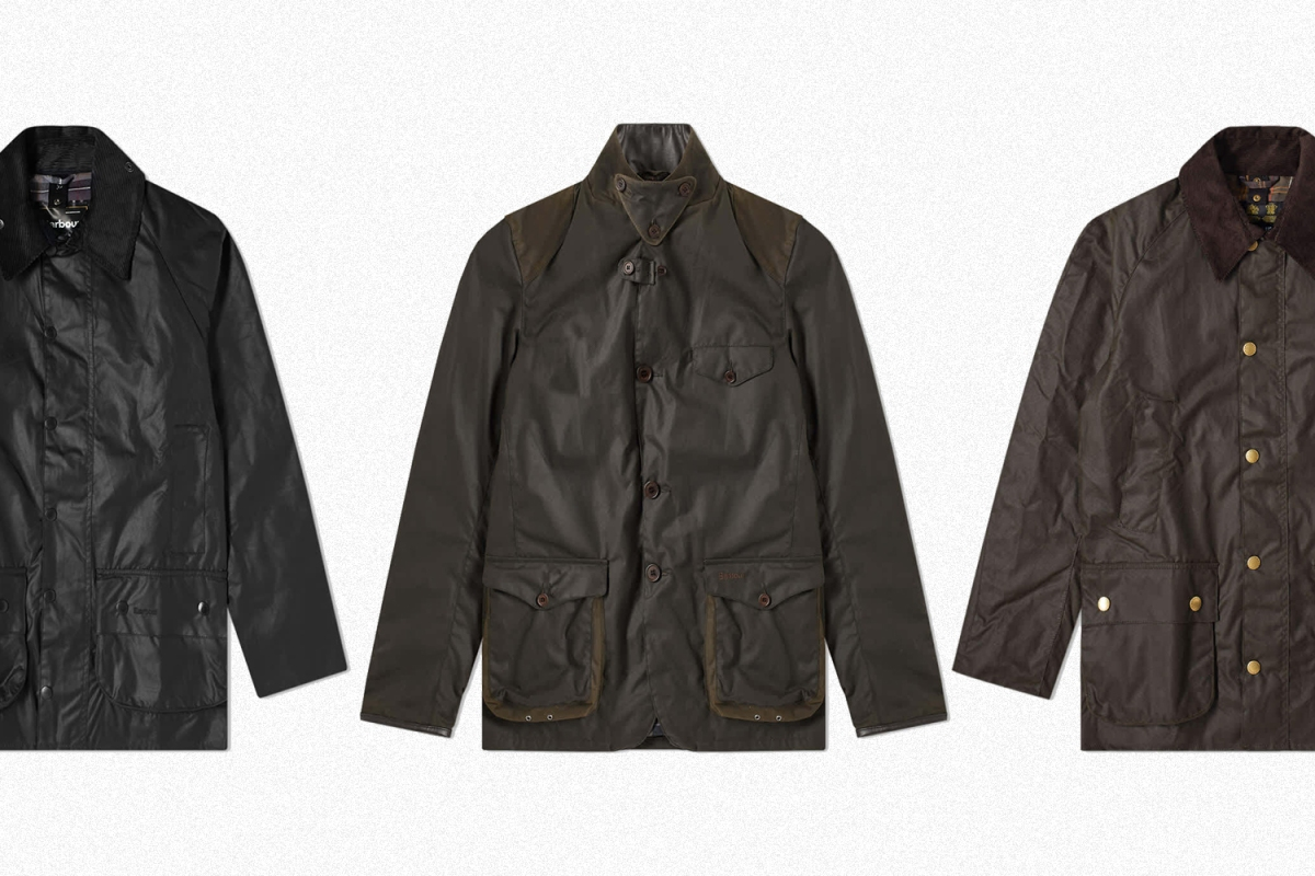 Three Babour waxed jackets including the Beaufort, Beacon Sports and Ashby