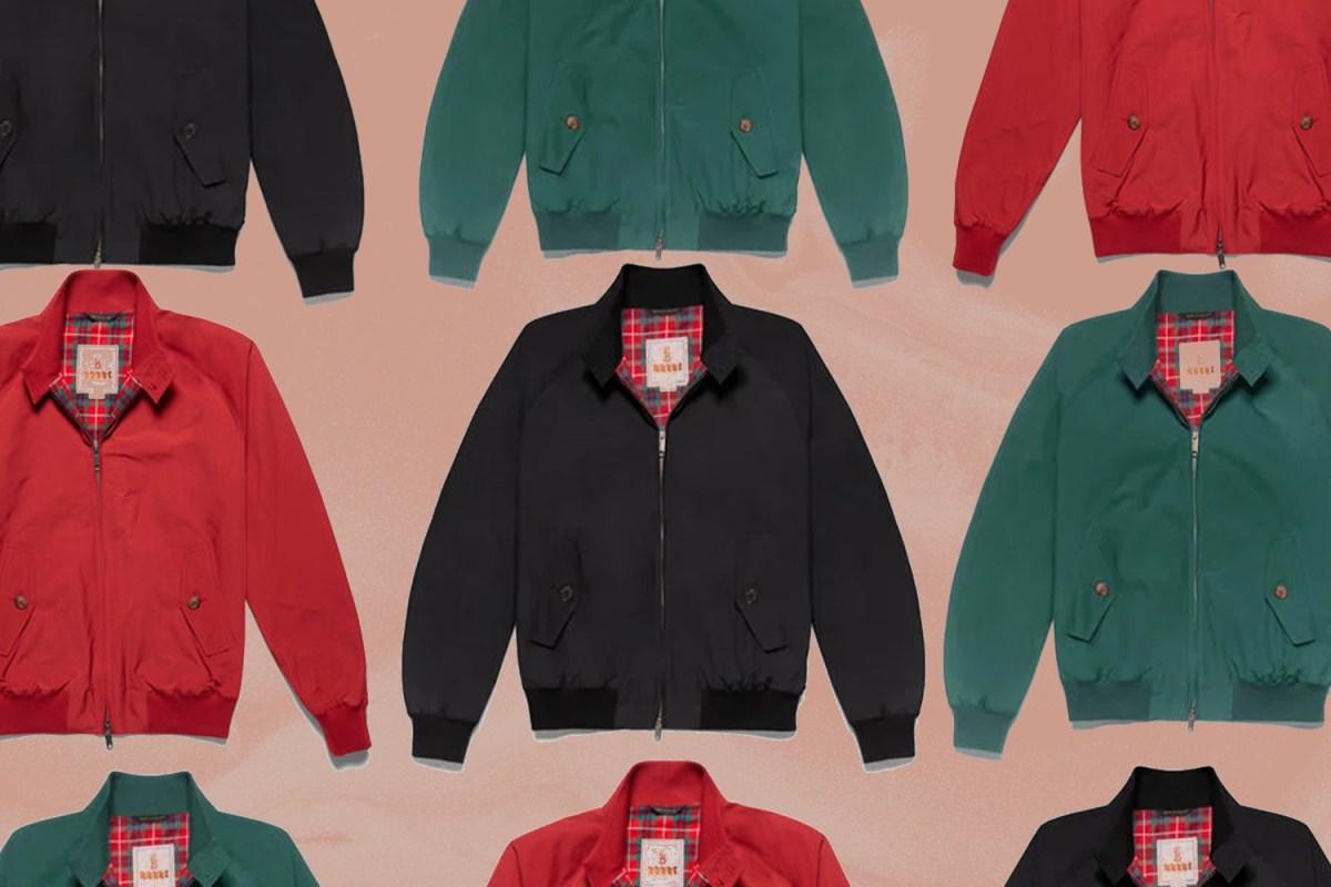 Baracuta G9 Harrington Jacket in Black, Red and Green