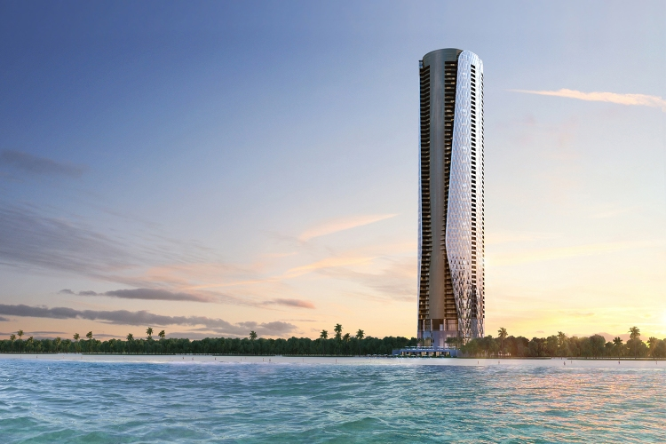 A rendering of the Bentley Residences tower set for construction in Miami on the beach