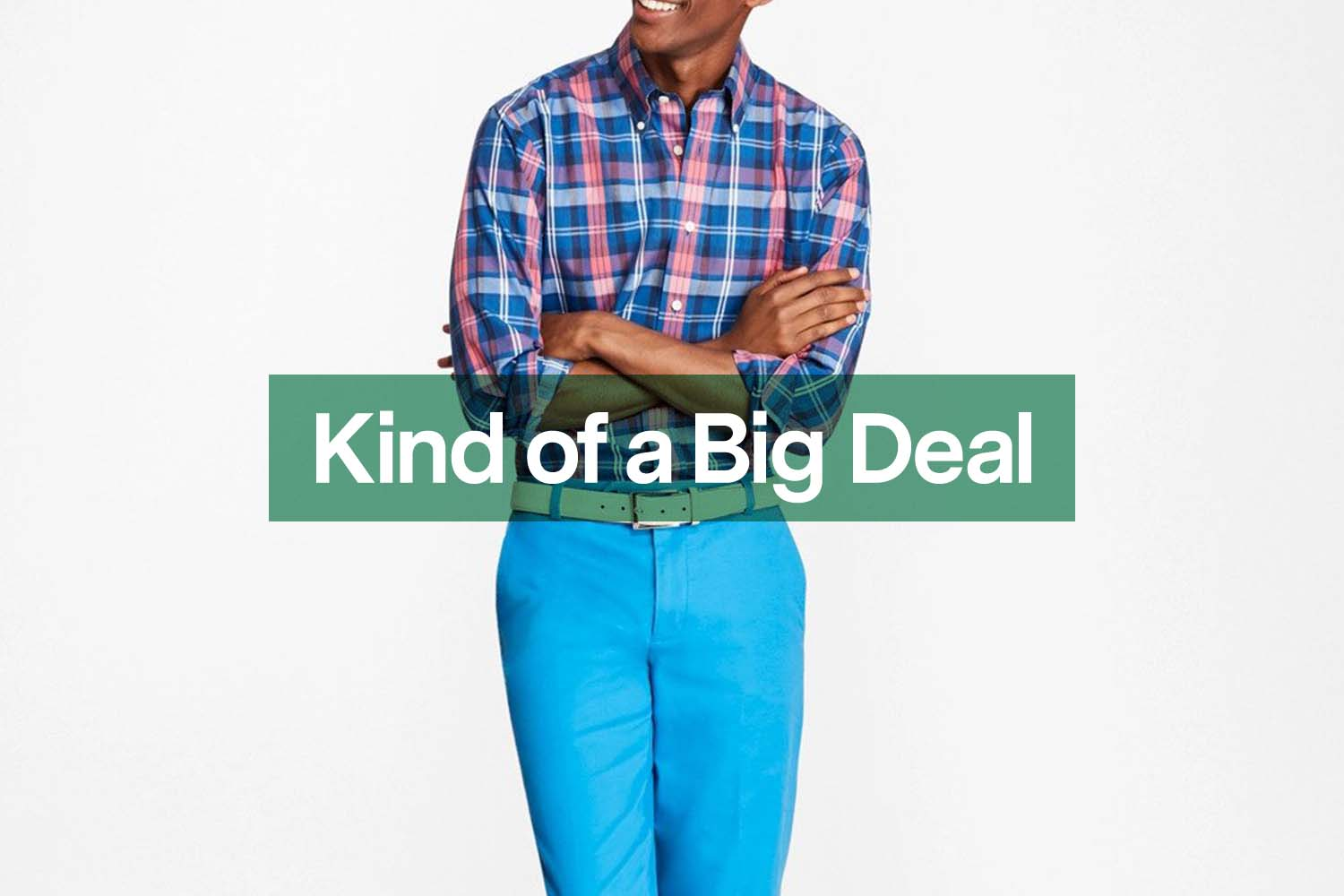 a sample, colorful shirt and pants outfit via Brooks Brothers spring sale