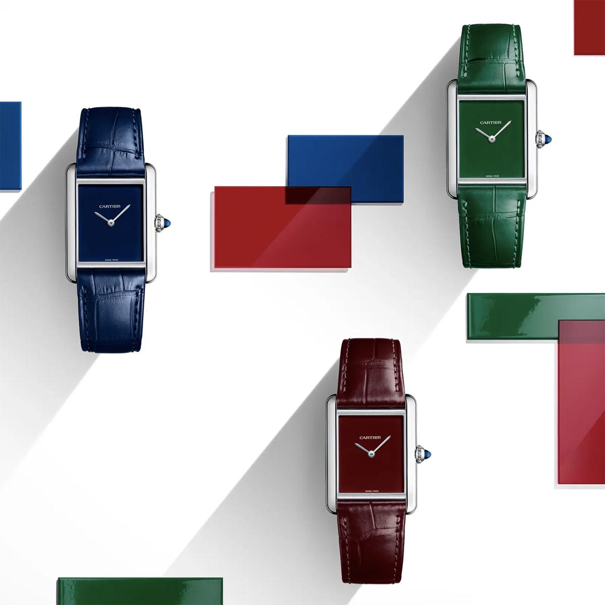 Cartier Must de Cartier Tank in Blue, Red and Green