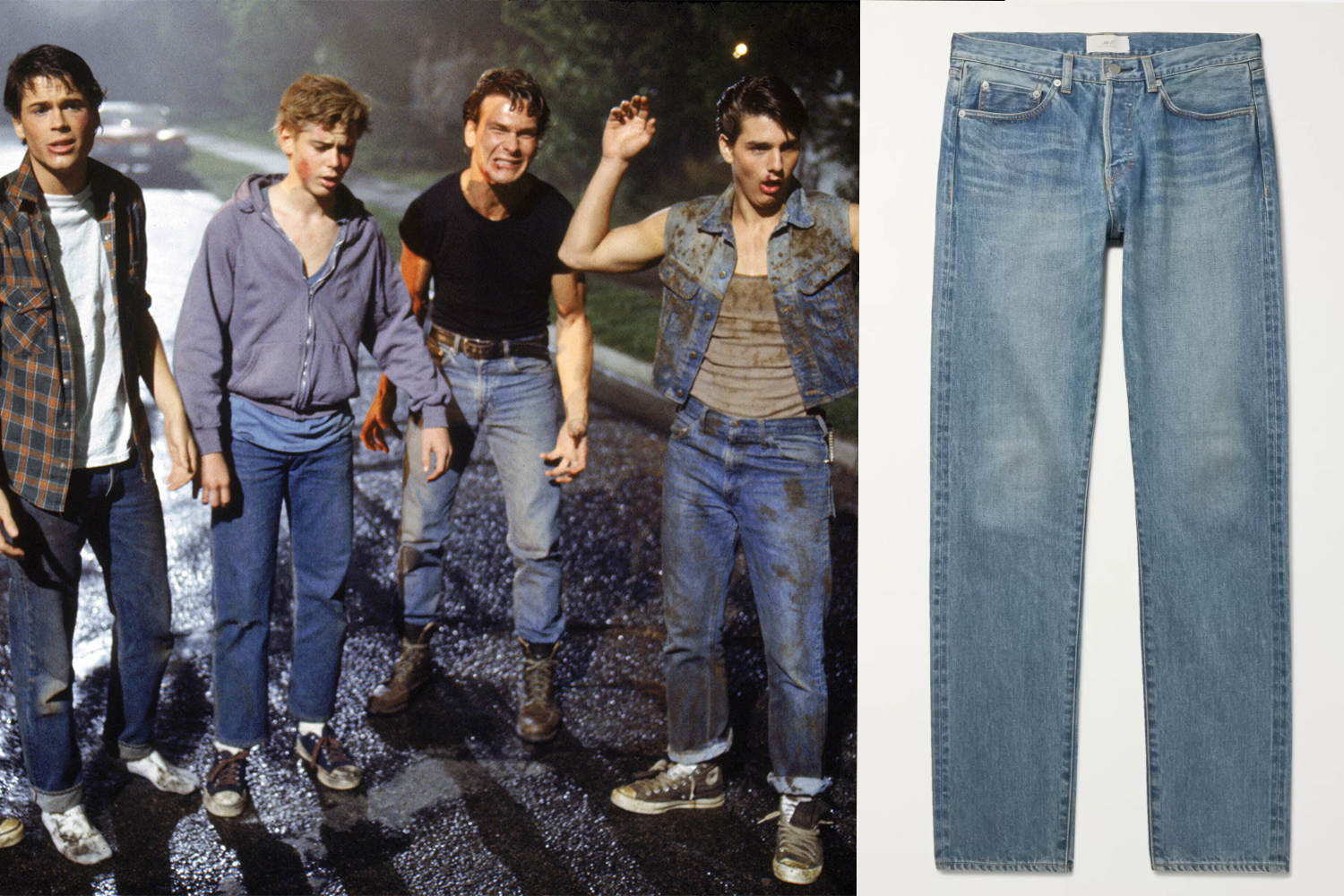 Rob Lowe, Thomas C. Howell, Patrick Swayze, and Tom Cruise on the set of The Outsiders