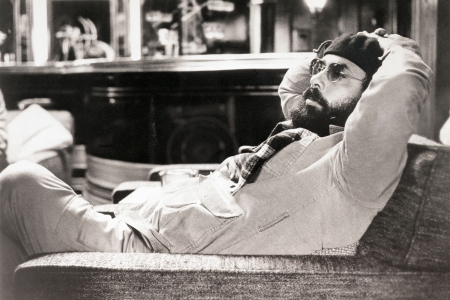 "Director Francis Ford Coppola relaxes on the set of ""The Godfather,"" 1974"
