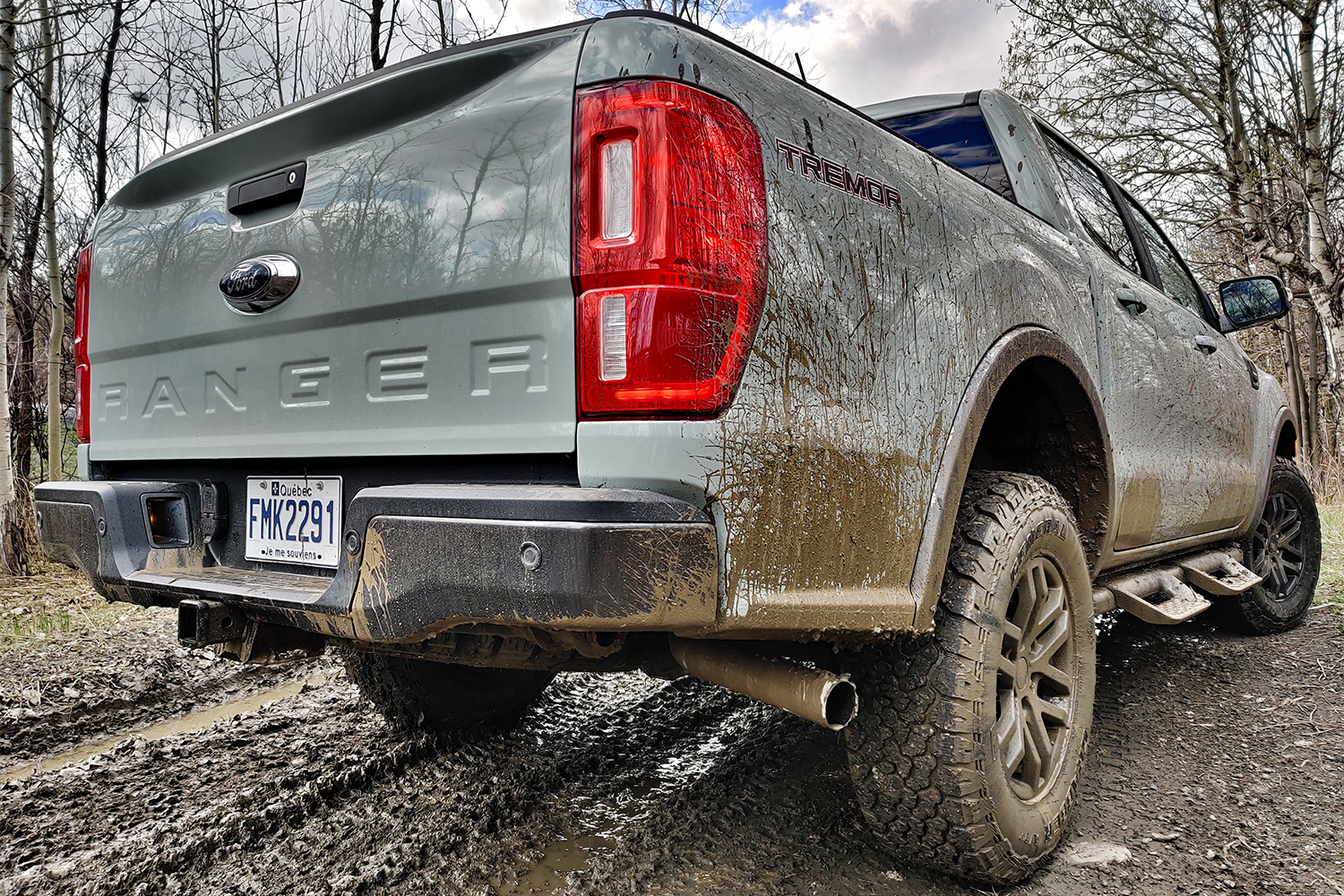 The back end of the 2021 Ford Ranger Tremor pickup truck after going off road