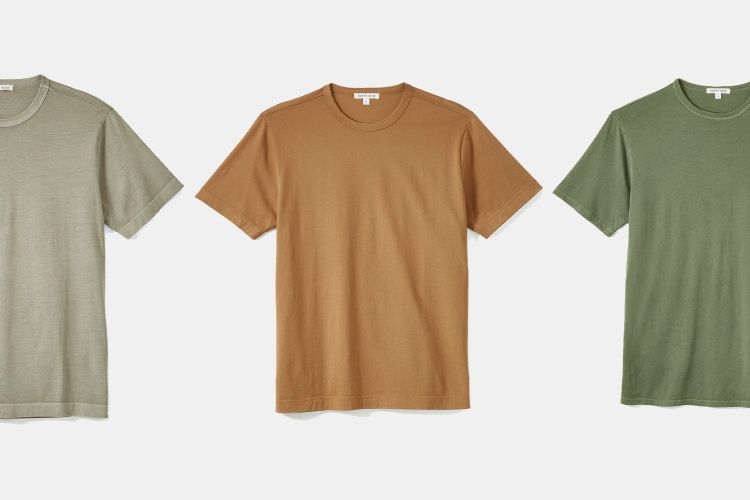 Forty Five Supima Crew T-shirts for men in green and brown