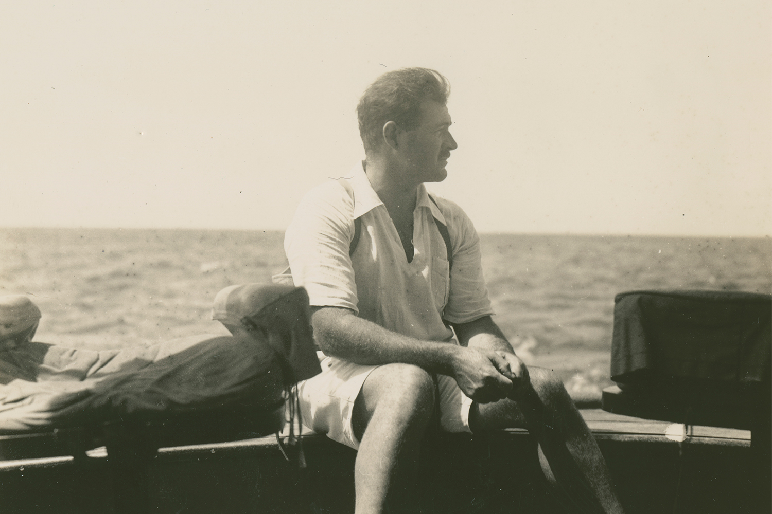 Ernest Hemingway on the fishing boat Anita around 1929