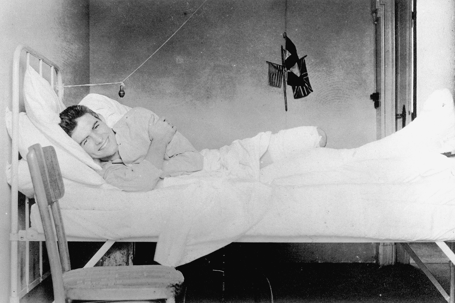 Ernest Hemingway recovering from injuries at the American Red Cross Hospital in Milan, Italy, 1918