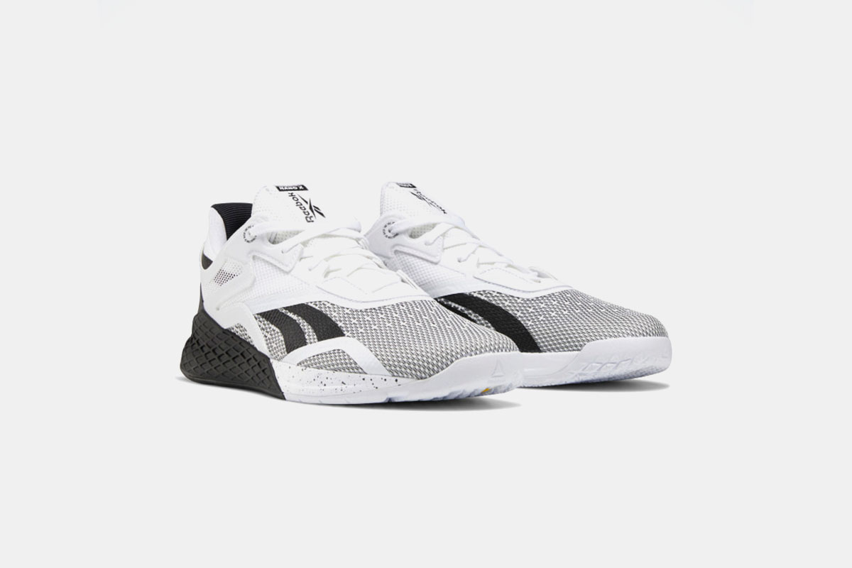 black and white reebok nano x workout shoes designed for lifting weights
