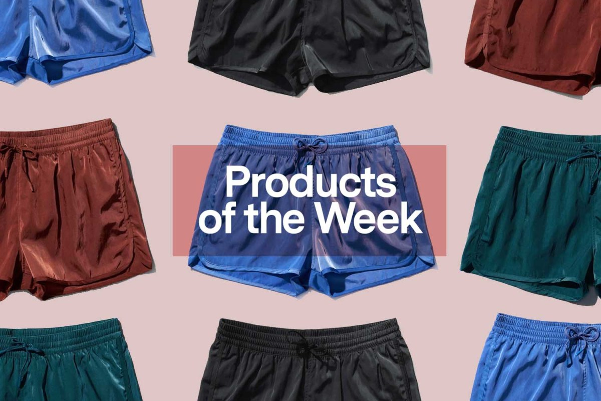 """The text """"Products of the Week"""" overlaid over a selection of CDLP Swim Shorts"""