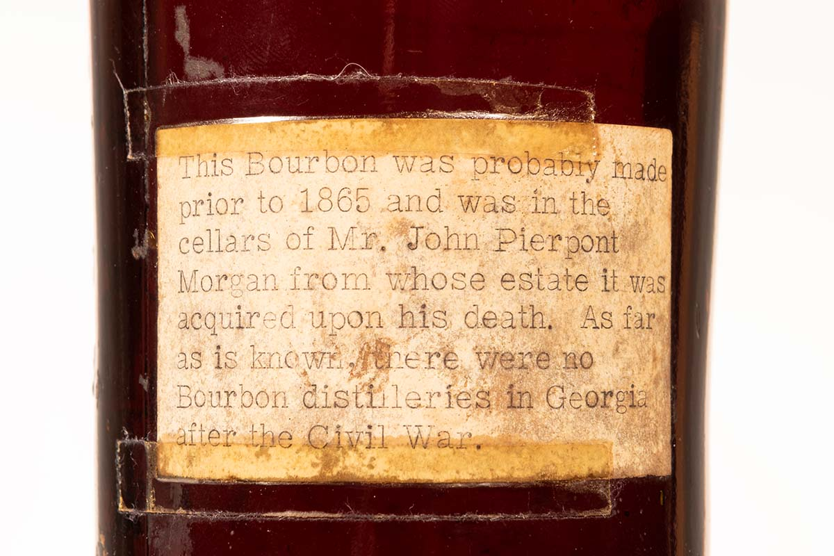 the text on the back of a bottle of Old Ingledew Whiskey, which may hail from the 18th century