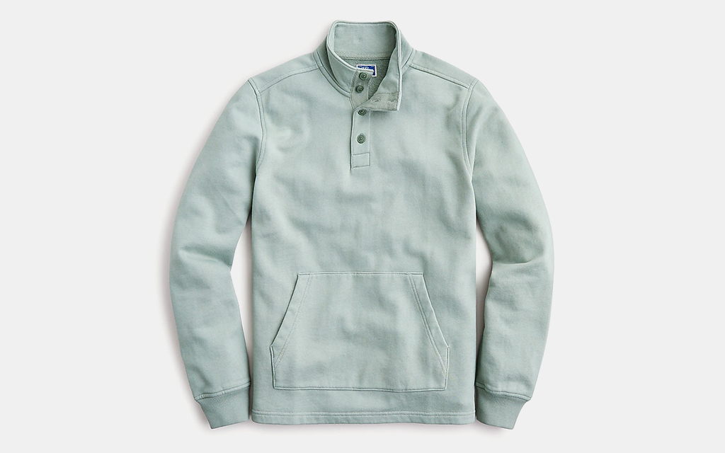 J.Crew French Terry Button Mock-Neck Pullover Sweatshirt