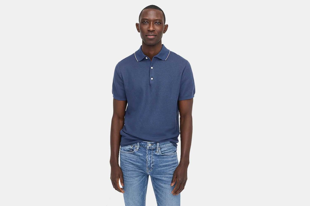 J.Crew Cotton-Silk Polo with Tipped Collar
