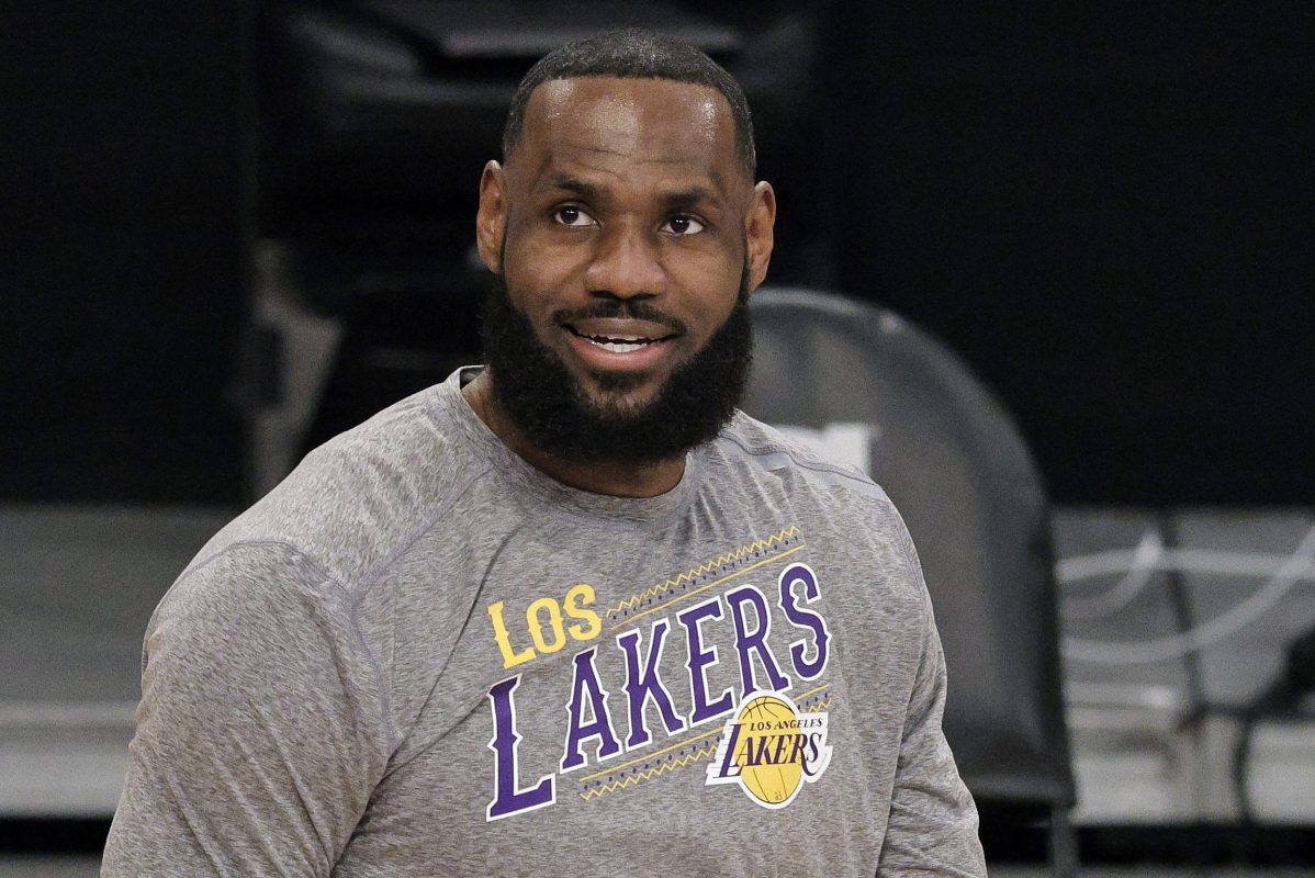 LeBron James of the Los Angeles Lakers on the court in a grey shirt