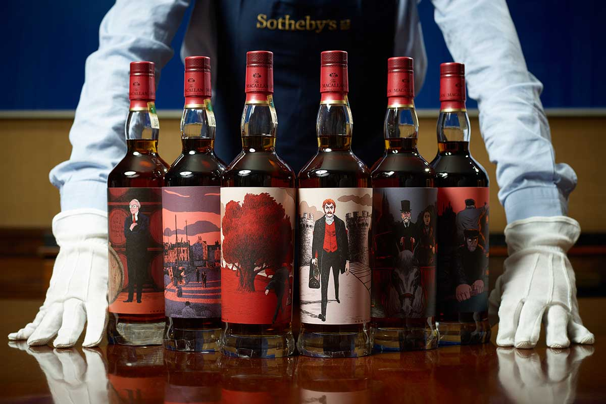 all the bottles in The Macallan Red Collection, sold for a million plus dollars at Sotheby's
