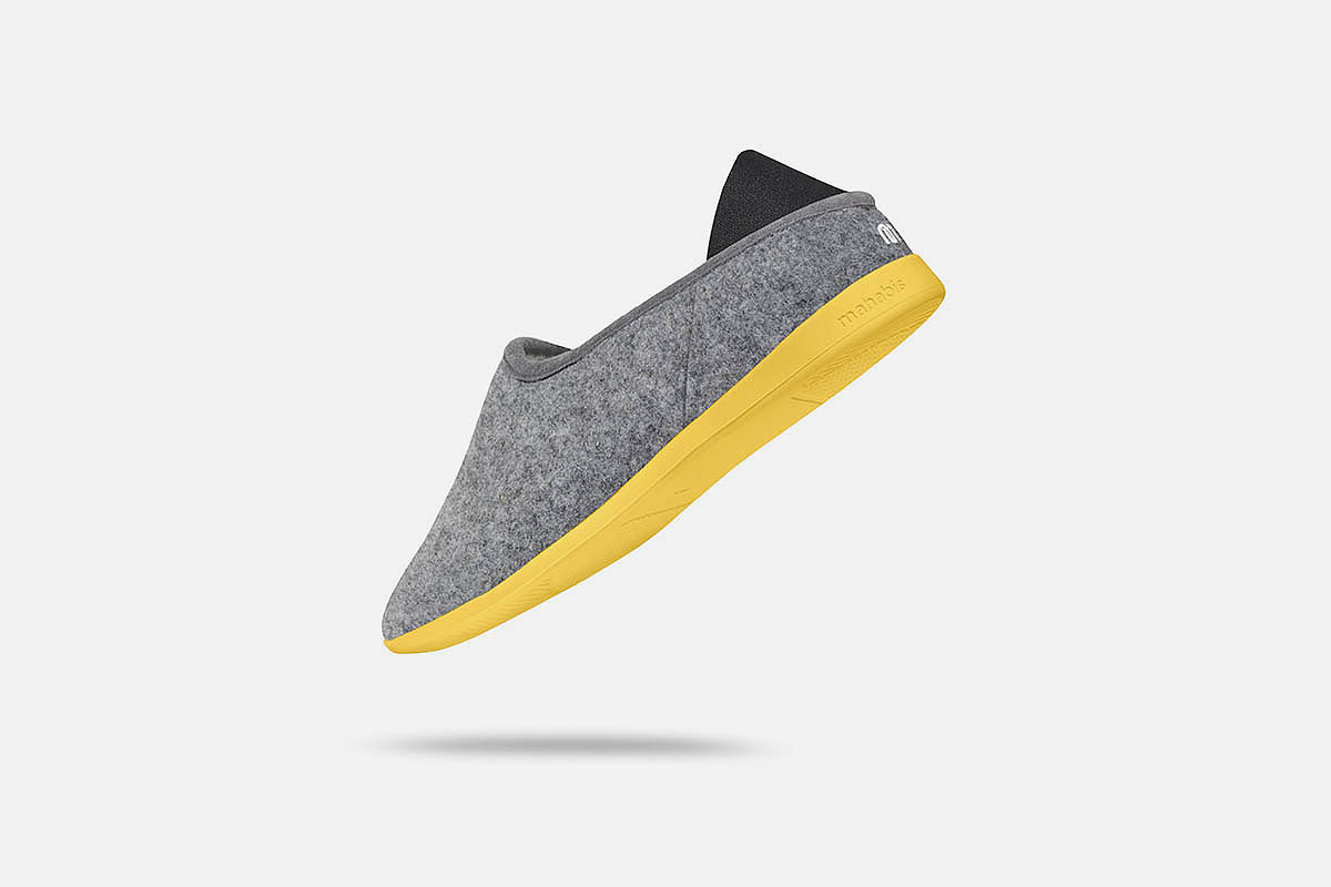 a grey Mahabis slipper, now on sale at Huckberry