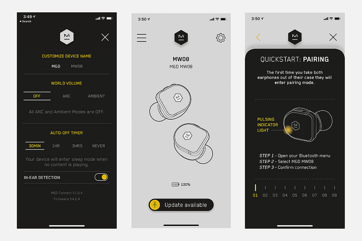 Various screens from the Master & Dynamic M&D Connect app