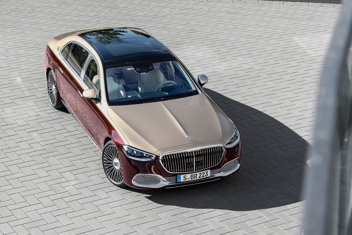 The new new Mercedes-Maybach S-Class car shot from above
