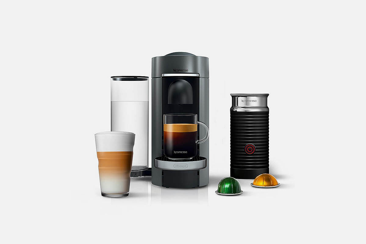 product shot of Nespresso by De'Longhi Vertuo Plus Deluxe Coffee & Espresso Maker with Aerocinno Frother