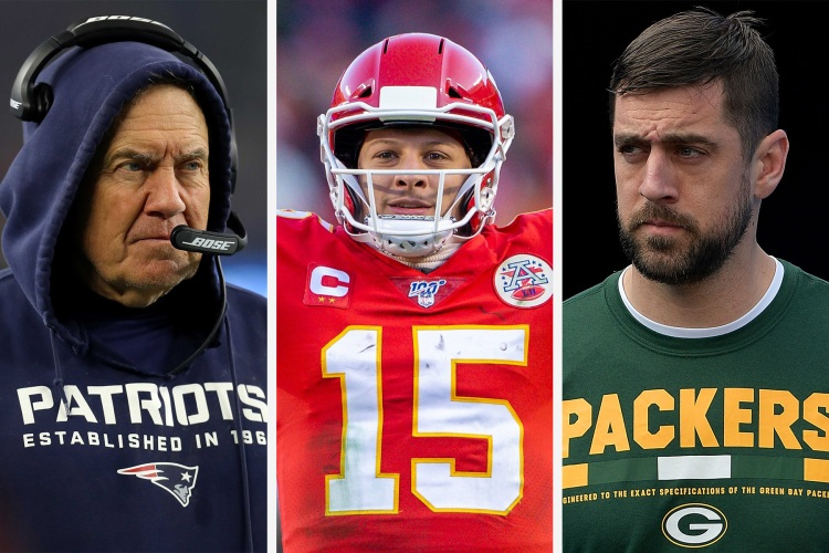 bill belichick, patrick mahomes and aaron rodgers