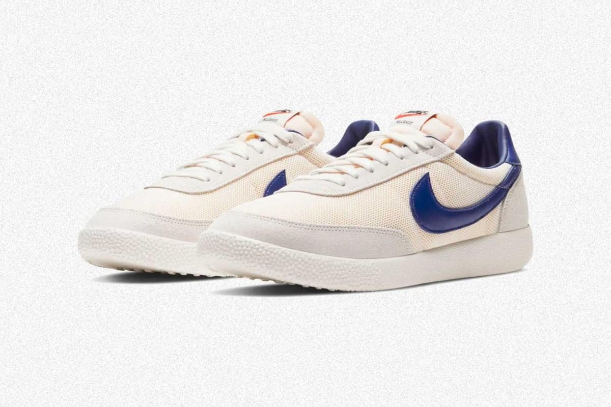 A pair of men's Nike Killshot OG Sneakers in white and blue