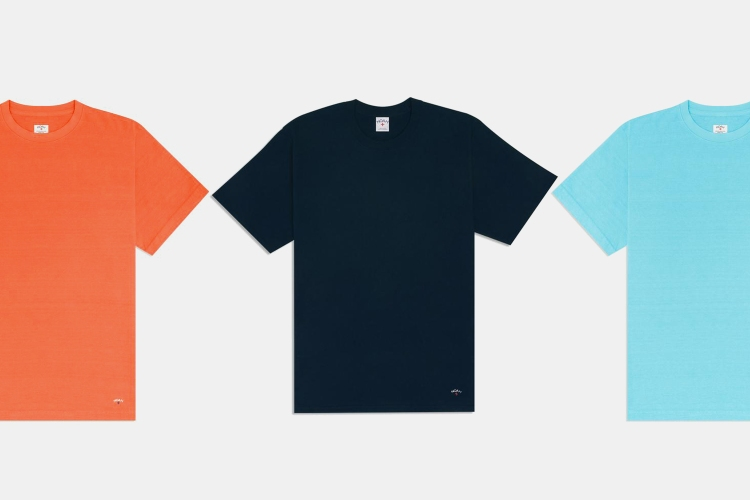 Noah Recycled Cotton Tees in orange, black and blue